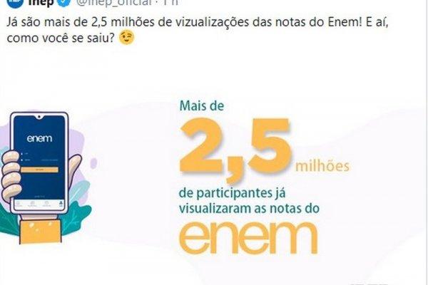 [Perfil oficial do Inep no Twitter posta mensagem com erro de português e depois apaga]