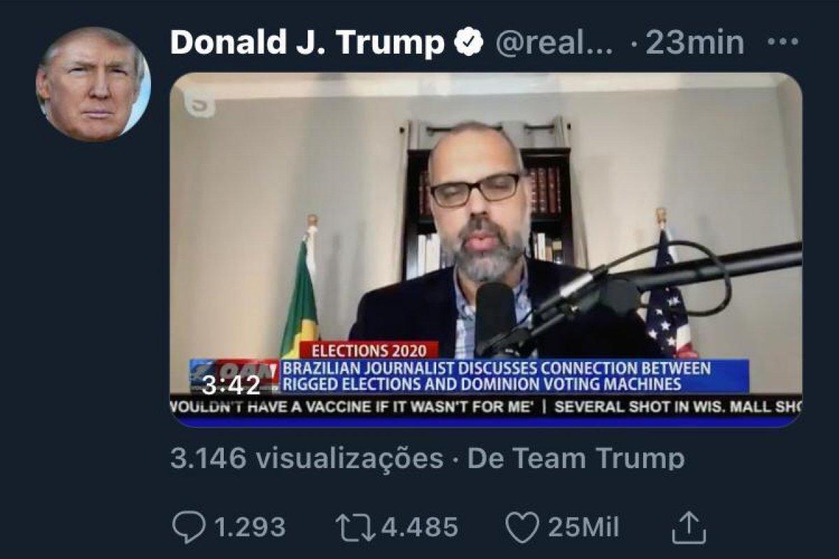[Trump compartilha entrevista de Allan dos Santos, investigado por fake news]