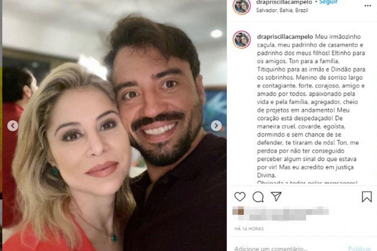 [Irmã de empresário morto em prédio de luxo em Salvador faz homenagem nas redes sociais ]