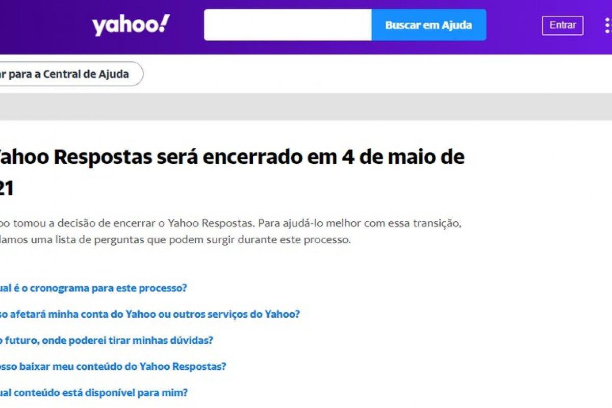 [Yahoo Respostas é desativado nesta terça-feira]