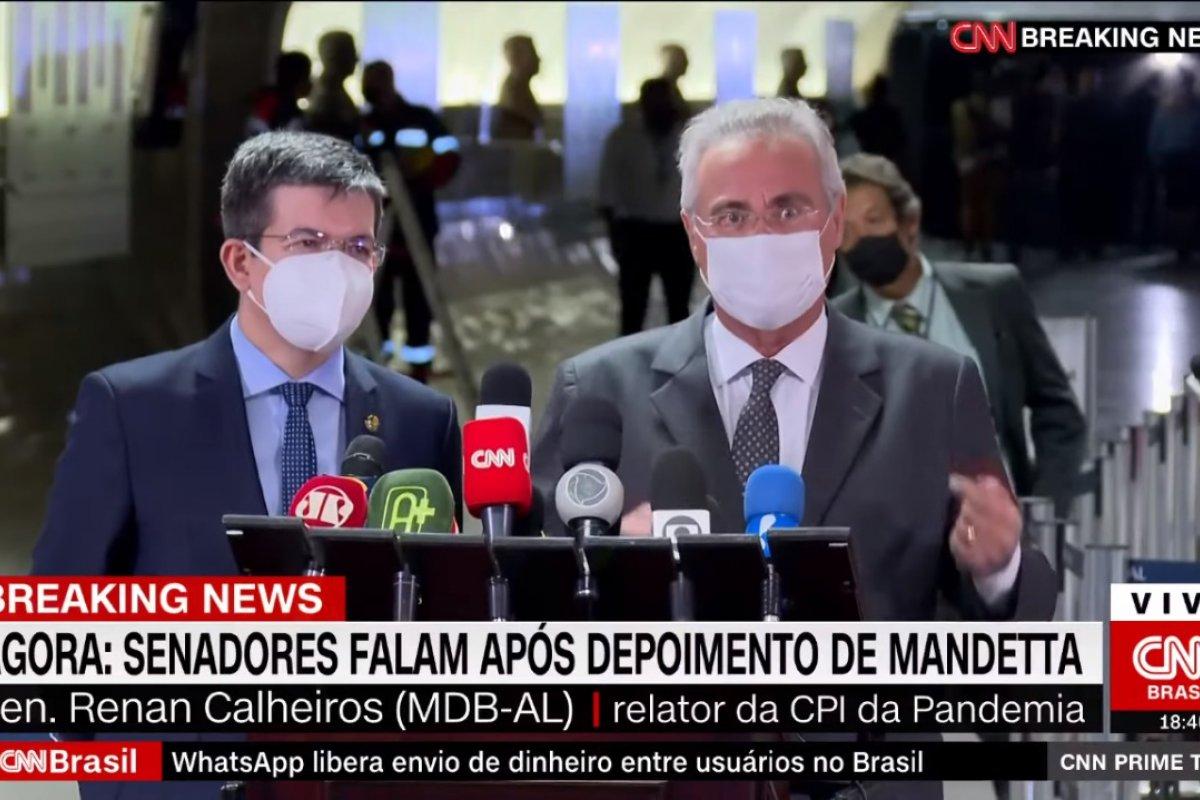 [Calheiros e Randolfe elogiam depoimento de Mandetta: 'Além das expectativas']