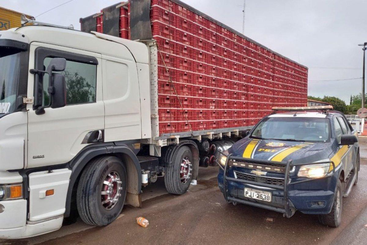 [PRF apreende caminhão que transportava carga viva irregularmente]