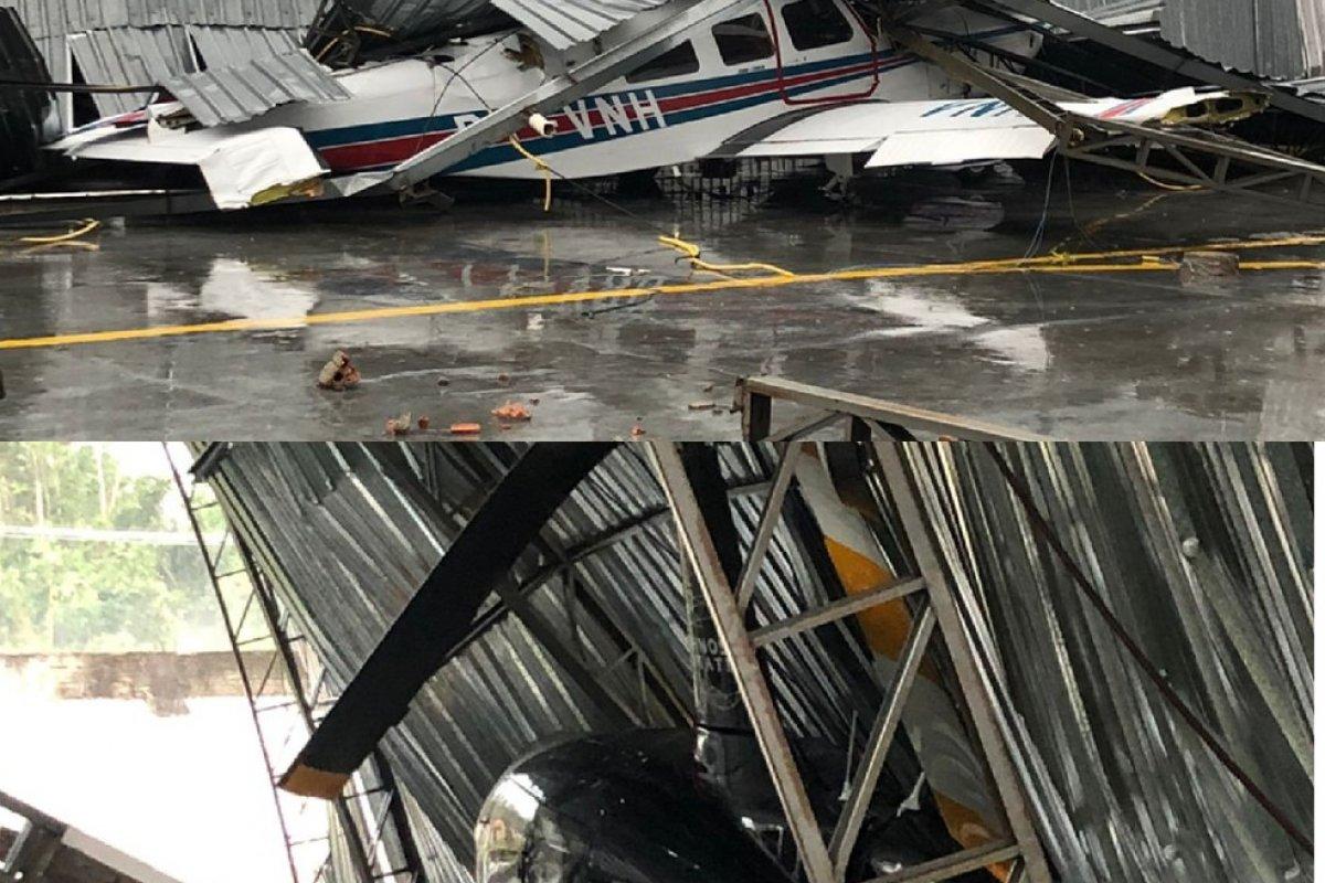 [Vídeos: Temporal derruba cobertura de hangar em cima de avião e helicóptero no interior do Acre]